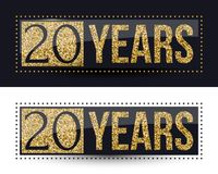 20 years anniversary gold banner on dark and white backgrounds. Vector illustration Stock Illustration