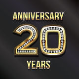 20 years anniversary in gold and diamonds. 20 years anniversary greeting card Stock Illustration