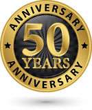 50 years anniversary gold label, vector. Illustration Stock Images