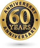 60 years anniversary gold label, vector illustration. 60 years anniversary gold label, vector Stock Images