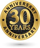 30 years anniversary gold label, vector illustration. 30 years anniversary gold label, vector Stock Photography