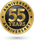 55 years anniversary gold label, vector illustration. 55 years anniversary gold label, vector Stock Photo