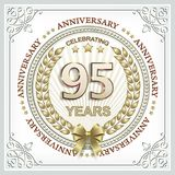 95 years anniversary in a gold laurel wreath. Greeting card anniversary 95 years in frame with ornament royalty free illustration