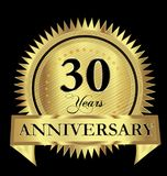 30 years anniversary gold seal logo vector design. Icon concept Stock Photos