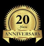 20 years anniversary gold seal logo vector design. Icon concept stock illustration