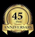 45 years anniversary gold seal logo vector design icon concept. 45 years anniversary gold seal logo vector design royalty free illustration