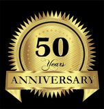 50 years anniversary gold seal logo vector design. Icon concept Stock Illustration