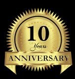 10 years anniversary gold seal logo vector design. Illustration icon Royalty Free Stock Images
