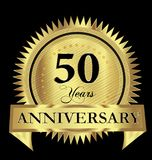 50 years anniversary gold seal logo vector design. Icon concept Vector Illustration