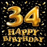 34 Years Anniversary with gold stylized number and confetti. Applicable for brochure, flyer, Posters, web and Banner Designs. Vect. Vector happy birthday 34th royalty free illustration