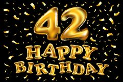 42 Years Anniversary with gold stylized number and confetti. Applicable for brochure, flyer, Posters, web and Banner Designs. Vect. Vector happy birthday 42th Stock Photography