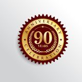 90 Years anniversary Golden badge logo. 90 Years anniversary celebration Golden badge logo. Vector illustration eps.10 vector illustration