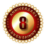 8 Years anniversary golden label. Royalty Free Stock Photography