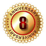 8 Years anniversary golden label. Royalty Free Stock Photo
