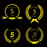 5 years anniversary golden label with ribbon Royalty Free Stock Images