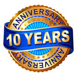 10 years anniversary golden label with ribbon. Royalty Free Stock Photo