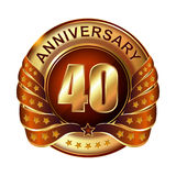 40 years anniversary golden label with ribbon. Stock Photos
