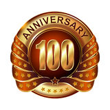 100 years anniversary golden label with ribbon. Vector illustration Royalty Free Stock Photography