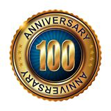 100 years anniversary golden label with ribbon. Royalty Free Stock Photos