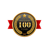 100 years anniversary golden label with ribbons. On a white background Stock Photos
