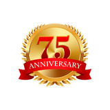 75 years anniversary golden label with ribbons. On a white background Stock Images