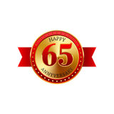 65 years anniversary golden label with ribbons. On a white background Royalty Free Stock Images