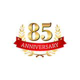 85 years anniversary golden label with ribbons. On a white background Stock Photos