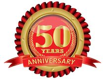 50 years anniversary golden label with ribbons. Vector Royalty Free Illustration