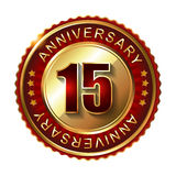 15 Years anniversary golden label. 15 Years anniversary golden label with stars Royalty Free Stock Photos