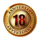 18 Years anniversary golden label. Royalty Free Stock Photography