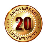 20 Years anniversary golden label. 20 Years anniversary golden label with stars Stock Illustration
