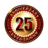 25 Years anniversary golden label. Royalty Free Stock Photo
