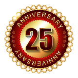 25 Years anniversary golden label. 25 Years anniversary golden label with stars Stock Image