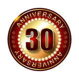 30 Years anniversary golden label. Royalty Free Stock Photos