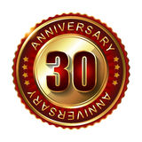 30 Years anniversary golden label. Stock Photos