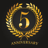 5 Years Anniversary Golden Label. 5th Anniversary Logo Celebretion Ribbon Vector Illustrator Stock Royalty Free Stock Photo