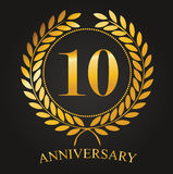 10 Years Anniversary Golden Label. 10th Anniversary Logo Celebretion Ribbon Vector Illustrator Stock Royalty Free Stock Images