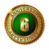 6 years anniversary golden label. Stock Photo