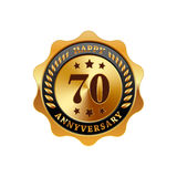 70 years anniversary golden label. On a white background vector illustration