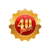 40 years anniversary golden label. On a white background royalty free illustration