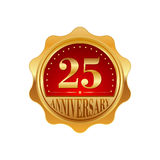 25 years anniversary golden label. On a white background Stock Photo