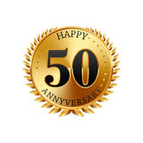 50 years anniversary golden label. On a white background Royalty Free Stock Photo