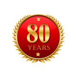 80 years anniversary golden label. On a white background Royalty Free Stock Photos