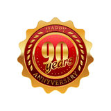 90 years anniversary golden label. On a white background Royalty Free Stock Photography