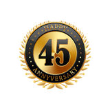 45 years anniversary golden label. On a white background vector illustration