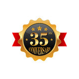 35 years anniversary golden label. On a white background Stock Images