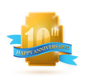 10 years anniversary golden seal with ribbon. Illustration design Stock Photography