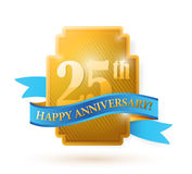 25 years anniversary golden seal with ribbon. Royalty Free Stock Image