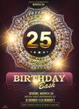 25 years anniversary golden vector mandala or ornament. royalty free illustration