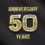 50 years anniversary golden card. 50 years anniversary greeting card Stock Photo